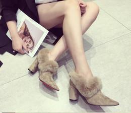 Discount black velvet shoes - Fur Wedding Shoes For Women Red Bottom High Heels Ankle Length Warm Bridal Shoe Black Brown Winter Outdoor Wear