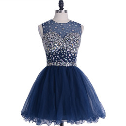 China Latest Navy Blue Cocktail Dresses Crystal Bateau Beading Short Mini Tulle Ball Gown Ruched Homecoming Dress 2019 Charming Beach Party Gowns supplier sequin ball caps suppliers