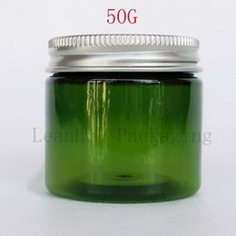 Wholesale Plastic Green Bottle Caps NZ - 50G Green Plastic Cream Bottle With Silver Cap , 50CC Makeup Sub-bottling , Empty Cosmetic Container ( 50 PC Lot )