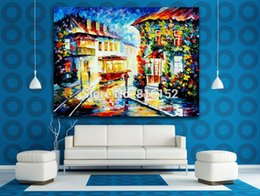 Street Art Canada - Palette Knife Oil Painting Trolley Car Town Night Street Picture Printed on Canvas for Living Room Bedroom Wall Art Decor