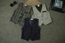 Discount korean fashion baby boy clothes - Baby Boy Children's Waistcoat 2015 Autumn New Korean fashion handsome boys plaid suit vest Waistcoat kids clothing