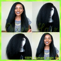 ombre kinky straight wig Canada - Unprocessed Malaysian Kinky Straight Full Lace Wig 130% Density Glueless Coarse Yaki Full Lace Human Hair Wigs For Black Women