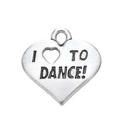 China Free shipping New Fashion Easy to diy 20Pcs Engraved Letter I Love To Dance Heart Charm Jewelry jewelry making fit for necklace or bracelet cheap wholesale dance charms suppliers
