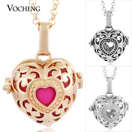 China VOCHENG Angel Bola Chime Harmony Necklaces for Maternity 3 Colors Copper Matal Pendants with Stainless Steel Chain VA-019 cheap bola chain suppliers
