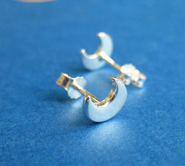 Gold Crescent Canada - 30Pair- S020 Gold Silver Cute Crescent Moon Stud Earrings Simple Tiny Half Moon Stud Earrings Jewelry for Women
