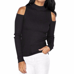 Chinese  Wholesale- Autumn Turtleneck Off Shoulder Knitted Sweater Winter Women Sexy Pullover Tops Fashion Knitted Top manufacturers