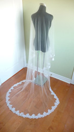 long church veils 2019 - Real Photos Long church Wedding Veils 2015 lace Ivory White Two layers Tulle and lace Bridal Veils Purfle Comb discount