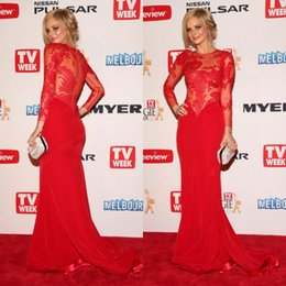 Barato Sexy See Tops-Sexy Red Prom Dresses Mermaid mangas compridas Sheer Trip Crew Neck Vestidos com ver através Top Zipper Back Sweep Trem Oscar Celebrity Vestidos