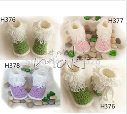 Wholesale Cotton Baby Booties Canada - Crochet baby girl shoes Baby Booties 2015 new model handmade shoes snow tall waist booties newborn toddler shoes first walker shoes