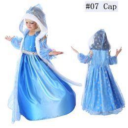 Enfants Bébé Costume Reine Des Neiges Anime Cosplay Robe Princesse Robes Avec Cape À Capuche Bleu Fourrure Cape Robe Prêt Stock en Solde