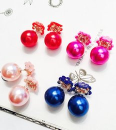 Flower pentagram online shopping - 300pairs New Fashion Small Daisy Flowers Bubbles Earrings Pentagram Glass Ball Double Crystal Stud Earrings