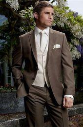 Suits Two Slits NZ - New Style Custom Made Slim Fit Two Bottons Groom Tuxedos Side Slit Best Man Suit Wedding GroomsmanMen Suits Bridegroo (Jacket+Pants+Vest)q86