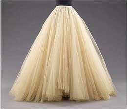 Tutus Pour Plus De Taille Pas Cher-Taille Plus Size Jupes longues Une ligne Layered Tulle Tutu Jupes Longueur de plancher Custom Made Prom Party Adulte Porter Automne Robe pas cher printemps