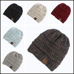 4d1c5d06394 Discount plain cap backs - 6 Colors Women CC Confetti Print Ponytail Caps  CC Knitted Beanie