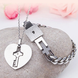 locking heart necklace Canada - Real Titanium Lover's Jewelry Set Open Heart Lock Bracelet Charm Keys Pendant Necklace Couple Wedding Valentine's Day Gift Accessories