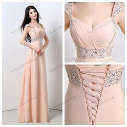 Longues Perles Roses Robe Mousseline Pas Cher-2017 longues robes de soirée en soirée bal de soirée manches bouchées Sweetheart perles paillettes rose longues robes de bal en mousseline de soie formelle pas cher robe