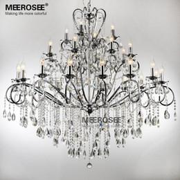 large 28 arms wrought iron chandelier crystal light fixture chrome lustre de sala crystal hanging lamp md051 l28 - Wrought Iron Chandelier