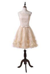 $enCountryForm.capitalKeyWord UK - Real Photo 2019 Tea Length Wedding Dresses Champagne Lace Tulle Jewel Neck Sleeveless A-Line Short Bridal Gowns Custom Made W1007