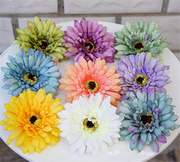"gerbera bouquet 2021 - Silk Gerbera Daisy Flower Head Dia. 9cm 3.54"" Artificial Flowers Oil Painting Chrysanthemum Gerberas for DIY Bridal"