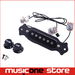 guitars jacks Canada - Wholesale Acoustic Guitar Sound Hole Pickup Pre-Wired Pickup Set Up Pots Knobs Jack Soundhole Pickup Free shipping MU1224