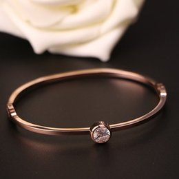 $enCountryForm.capitalKeyWord Canada - fashion love 18 k rose gold titanium steel bracelet bangle sweet female stainless single crystal bracelet & bangle bracelet for women