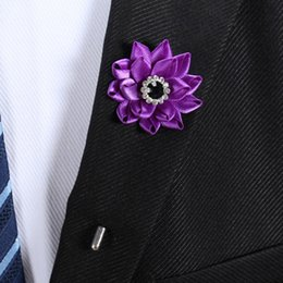 flower rhinestone resin brooch UK - 10 Colors Handmade Women Man Lapel Flower Resin Rhinestone Suit Pins Brooches Corsage Wedding Anniversary Party Boutonniere Stick Brooch Pin