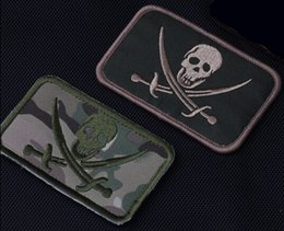 Armband Jacket Canada - Sword Skull Patch 3D Embroidered Tactical Hook And Loop Patches Combat Armband Badge 2pcs For Bags Caps BDU Jacket