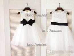 $enCountryForm.capitalKeyWord Canada - Ivory Lace Tulle Flower Girl Dress Keyhole Back Black Bow Sash Children Toddler Party Dress for Wedding Junior Bridesmaid Dress