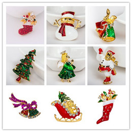 Wholesale Christmas Brooch Rhinestone Crystal Brooches Bell Snowman Angels Brooch And Pin Clothes Decor Christmas Gifts XZ86