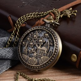 $enCountryForm.capitalKeyWord Canada - Cindiry Retro Bronze Hollow Flower Building Quartz Pocket Watch Pendant Sweather Chain Link Necklace Fob Watches Clock Gift