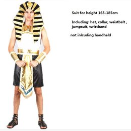 Robe De Cosplay D'egypte Pas Cher-Halloween Femme Dame Homme Egypte Pharaon Princesse Prince Reine Roi Partie Cosplay Mascarade Ball Costume Carnaval Fantaisie Robe Cosplay