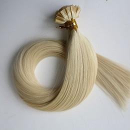 $enCountryForm.capitalKeyWord Canada - Pre bonded Flat Tip Hair Extensions 100g 100Strands 18 20 22 24inch #60 Platinum Blonde Brown Brazilian Indian Keratin Human Hair