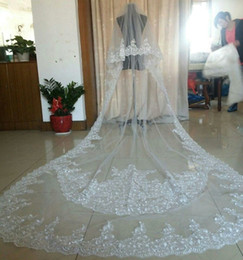 $enCountryForm.capitalKeyWord Canada - New Free Shipping Luxury Real Image Wedding Veils 3M Long Veil Lace Applique Crystals 2T Cathedral Length Bridal Veils Sequins Made In China