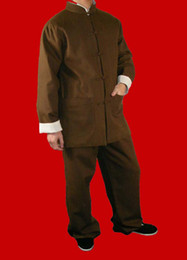 Kung Fu Suits Australia - 100% Cotton Brown Kung Fu Martial Arts Tai Chi Uniform Suit XS-XL or Tailor Custom Made