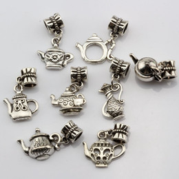 teapot charms Canada - Hot Sales ! 160pcs Antique Silver Alloy Mixed Teapot Charms Dangle Bead Fit Charm Bracelet 8- style DIY Jewelry