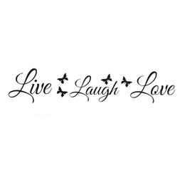 Great Quality 4 Live Laugh Love Wall Stickers Butterflies Wall Art Sticker  Quote Home Decoration
