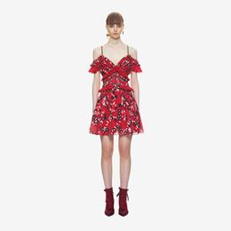 Red Dress V Neck Straps Australia - New design women's sexy v-neck spaghetti strap short sleeve backless red floral print patchwork lace short beach dress SML