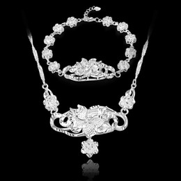 Cheap Jewelry Sets Free Shipping NZ - Free Shipping with tracking number fashion Top Sale 925 Silver Set Big and Small Rose Bracelet Necklace set Silver Jewelry 10set lot cheap
