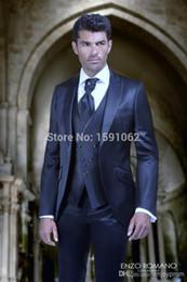 $enCountryForm.capitalKeyWord NZ - Hot Sale Custom Made Groom Tuxedos,Navy Party Suit Dinner Suit Groomsman Suit Boy's Suit (Jacket+Pants+Tie+Vest)Bridegroom Suit