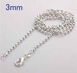 925 Sterling Silver Chains 24inch NZ - XMAS Wholesale Fine 925 Sterling Silver 3mm 5Pc 18-24inch Beads Chain Necklace Jewelry,Hot Piercing Necklace 925 Silver for Women Link Chain