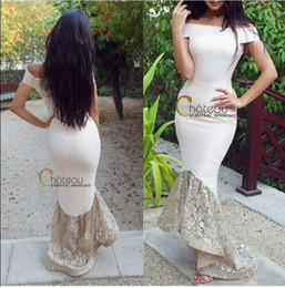 Qatar dresses online shopping - Ivory Lace Evening Dresses Formal Prom Gowns Occasion Dresses Mermaid Off Shoulder Appliques Hi Lo Party Celebrity Qatar
