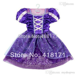 Robe De Bal D'anime Cosplay Pas Cher-Ocasion Party robe de bal Baby Girls Costumes Princess Dress Violet Kid de gros-Fairy Tale Girl Dress Cosplay Tulle