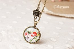 Fresh Steel Free NZ - High Quqlity Fresh Floral Pendant Necklaces Chains Time gem glass Statement Vintage Stainless Steel Chain Mori Girl Bronze jewelry Free DHL