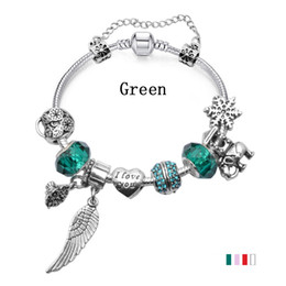 "$enCountryForm.capitalKeyWord Canada - Elegant Charm Bracelets with ""I Love You"" Heart Charms & Feather Dangles & Murano Glass Beads Fashion Snake Chain Bangle Bracelets BL100"