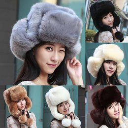Discount white russian hat Wholesale-2015 Womens Winter Warm Faux Fur Bomber Hats Ushanka Russian Style Cossack Trapper Hat Ski Cap