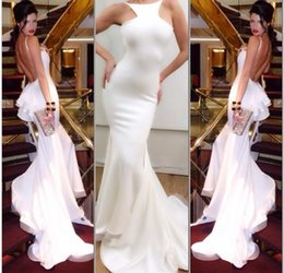 Barato Trajes Brancos Sem Camisinha-Mermaid Real Image 2015 Michael Costello Sexy Evening Gown Halter Backless Chapel Train Ruffles Prom Dress White Chiffon Evening Dresses