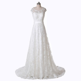 $enCountryForm.capitalKeyWord UK - 2019 Simple Design Full Lace Wedding Dresses Jewel Neck Cap Sleeve Sweep Train Hot SaleBridal Gowns Zipper Back Custom Made W997