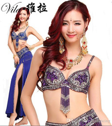 Barato Dança Do Ventre Traje Conjunto Azul-Lady Belly Dance Costume design sexy S / M / L 3pcs BraBeltSkirt Sexy Dancing mulheres dança roupas Set bellydance Indian wear 6 color