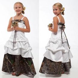 kids yellow ball dress 2019 - Lovely Camo Flower Girl Dresses for Wedding 2016 Spaghetti Camouflage Princess Junior Bridesmaid Gowns New Kids Birthday