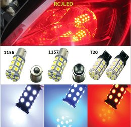 Discount 1156 red - Bright Red 27SMD 5050 LED 1157 BAY15D T-25 Car Reverse Turn Signal Tail Brake Light Bulb Lamp 7528 3496